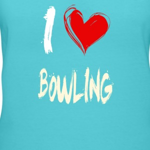 I love BOWLING - Women's V-Neck T-Shirt