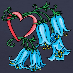 blue_flowers_hangind_from_heart - Women's V-Neck T-Shirt