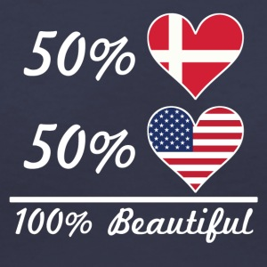 50% Danish 50% American 100% Beautiful - Women's V-Neck T-Shirt