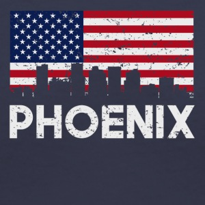 Phoenix AZ American Flag Skyline Distressed - Women's V-Neck T-Shirt