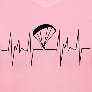 paragliding heartbeat - Women's V-Neck T-Shirt