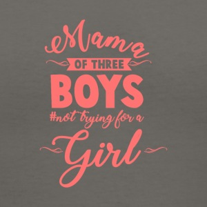 Mama of Three Boys No Girls Pink - Women's V-Neck T-Shirt