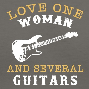 Love One Woman And Several Guitars Shirt - Women's V-Neck T-Shirt