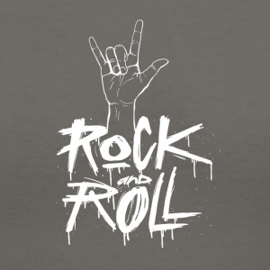 Rock and Roll Hand (White) - Women's V-Neck T-Shirt
