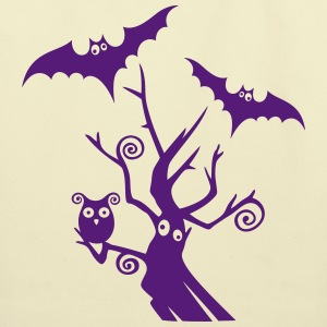 Halloween tree with bats and owl. - Eco-Friendly Cotton Tote