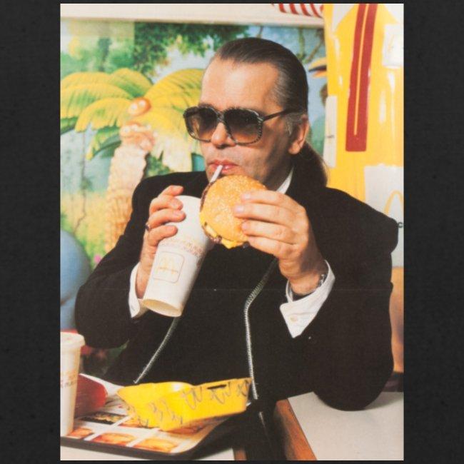 Karl Lagerfeld Eating a McDonald's Cheeseburger