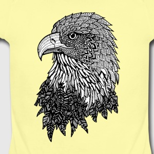 Bald Eagle Zentangle (abstract doodle) - Short Sleeve Baby Bodysuit