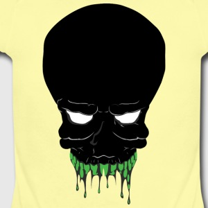 black_monster_face_with_green_teeth - Short Sleeve Baby Bodysuit