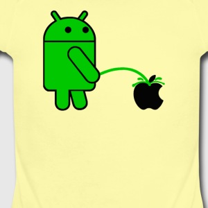 Android Robot Peeing on an Apple Mens Phone War - Short Sleeve Baby Bodysuit