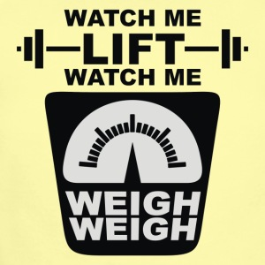 Watch Me Lift Watch Me Weigh Weigh - Short Sleeve Baby Bodysuit