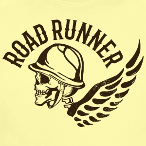 Road runner biker skull tatoo wings inscription - Short Sleeve Baby Bodysuit