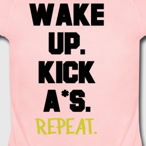 Wake Up, Kiss A*s, Repeat. - Short Sleeve Baby Bodysuit