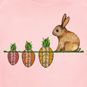 Happy Easter eggs Easter bunny waiting for carrots - Short Sleeve Baby Bodysuit