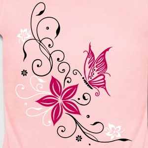 Flowers with filigree ornament and butterfly - Short Sleeve Baby Bodysuit