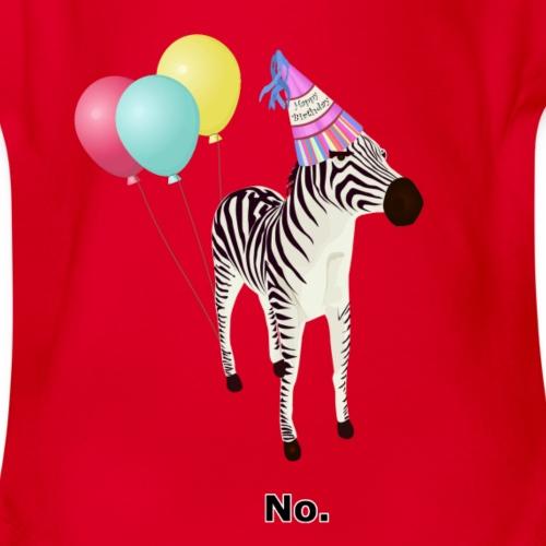 Annoyed Birthday Zebra - Organic Short Sleeve Baby Bodysuit
