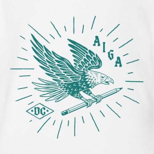Fly Like an AIGA DC Eagle (teal) - Organic Short Sleeve Baby Bodysuit