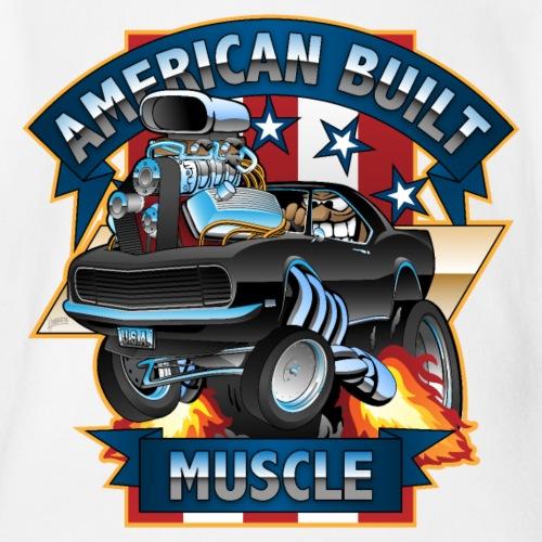 American Built Muscle - Classic Muscle Car Cartoon - Organic Short Sleeve Baby Bodysuit
