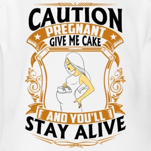 Pregnant - Give me Cake - Short Sleeve Baby Bodysuit