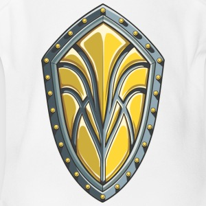medievel_yellow_shield - Short Sleeve Baby Bodysuit