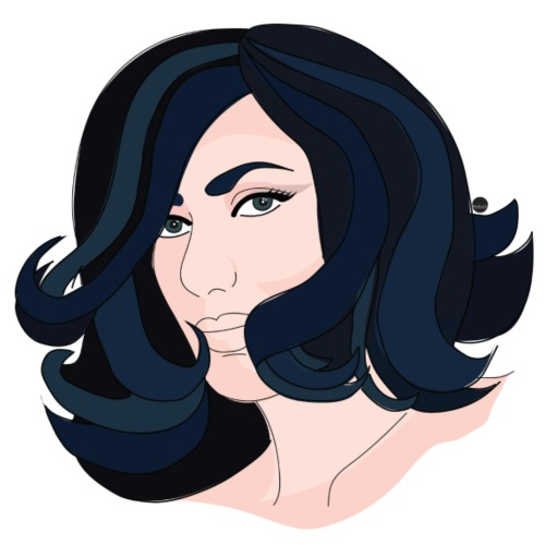 Curly Hair Portrait - Organic Short Sleeve Baby Bodysuit