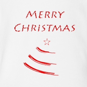 Merry Christmas with a Christmas Tree - Short Sleeve Baby Bodysuit