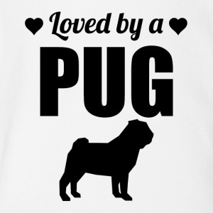 Loved By A Pug - Short Sleeve Baby Bodysuit