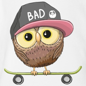 Owl cap inscription skateboard - Short Sleeve Baby Bodysuit