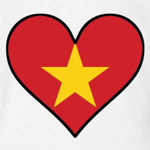 Vietnamese Flag Heart - Short Sleeve Baby Bodysuit