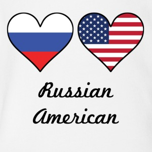 Russian American Flag Hearts - Short Sleeve Baby Bodysuit