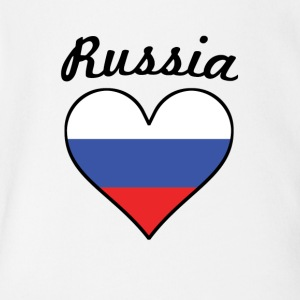 Russia Flag Heart - Short Sleeve Baby Bodysuit
