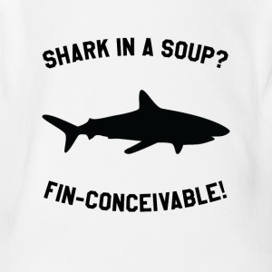 Shark In A Soup? FIN-CONCEIVABLE! - Short Sleeve Baby Bodysuit