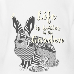 garden rabbit nature Animal Save Mandala Vegan lif - Short Sleeve Baby Bodysuit