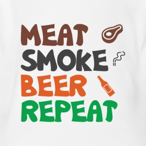 Meat Smoke Beer Repeat Tee Shirt - Short Sleeve Baby Bodysuit