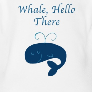 Whale Hello There Funny Graphic Tee Shirt - Short Sleeve Baby Bodysuit