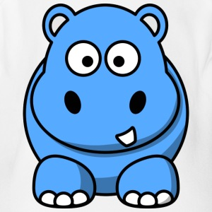 Happy Hippo Funny Comic Style - Short Sleeve Baby Bodysuit