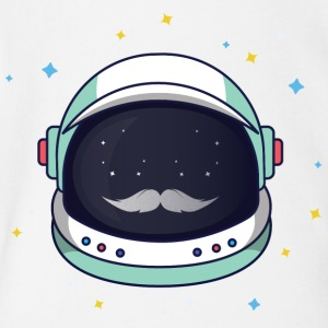 Astronaut Loves Mustache - Short Sleeve Baby Bodysuit