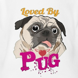 loved by pug - Short Sleeve Baby Bodysuit