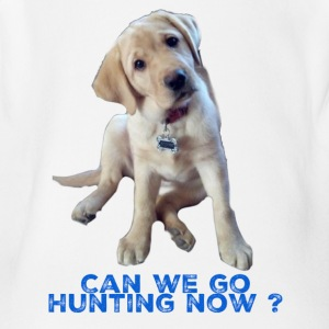 Yellow lab, Can we go Hunting Now - Short Sleeve Baby Bodysuit