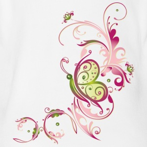 Pink and green flowers with butterfly - Short Sleeve Baby Bodysuit