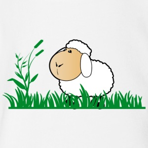 Funny Sheep in green gras - Short Sleeve Baby Bodysuit