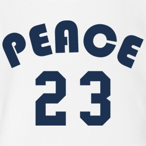 Peace - Team Design (Navy Blue Letters) - Short Sleeve Baby Bodysuit