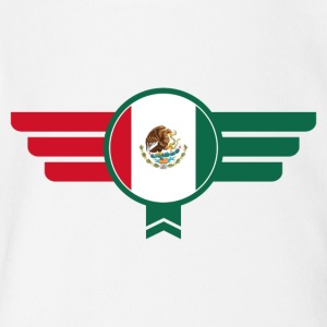 Mexico Badge Emblem Flag - Short Sleeve Baby Bodysuit