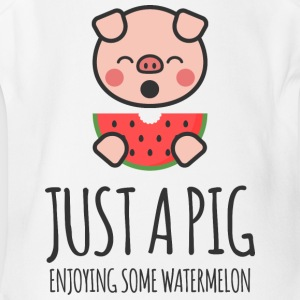 Just A Pig Enjoying Some Watermelon - Short Sleeve Baby Bodysuit