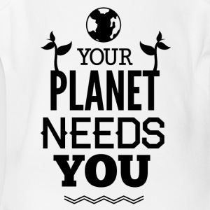 YOUR_PLANETS_NEED_YOU-01 - Short Sleeve Baby Bodysuit