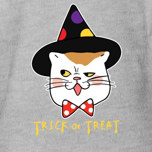 Trick or Treat Cat Face Funny Halloween costume - Organic Short Sleeve Baby Bodysuit
