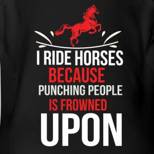 Horse T Shirt I ride Horses because punching peo - Short Sleeve Baby Bodysuit