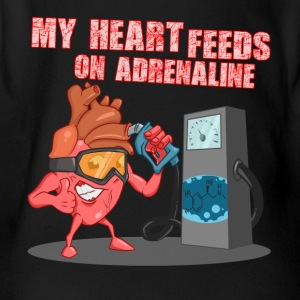 My heart feeds on adrenaline - Short Sleeve Baby Bodysuit