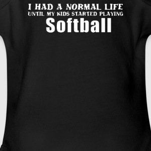 My Kids Playing softball - Short Sleeve Baby Bodysuit
