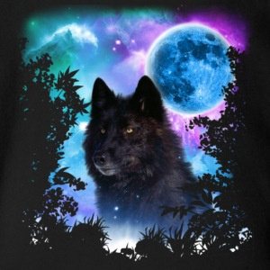 Black Wolf MidNight Forest T Shirt - Short Sleeve Baby Bodysuit
