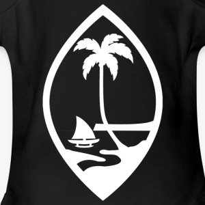 Seal of the island in white. - Short Sleeve Baby Bodysuit